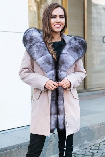 Пуховик Furs collection с мехом чернобурки бежевый