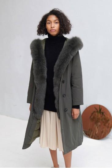 Пальто Sofi с мехом песца, хаки