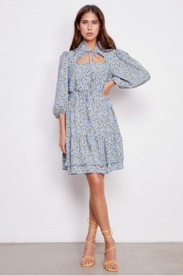 Платье Jean с принтом голубое