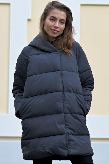 Женский пуховик зефирка BND серый