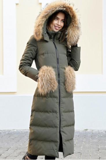 Длинный пуховик с меховыми карманами Canada хаки