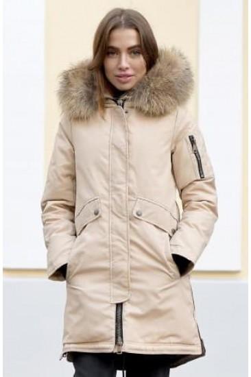 Парка Ice yee с большим мехом бежевая