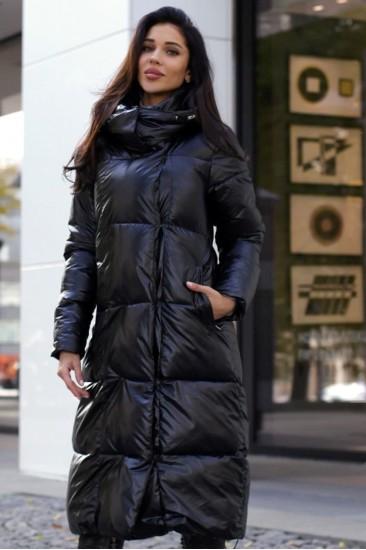Пальто зимнее серебро черное