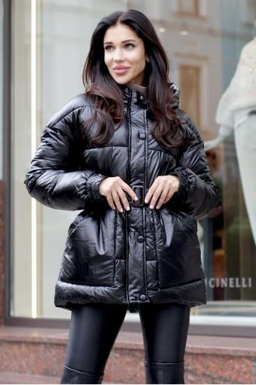 Куртка с поясом черная 2020