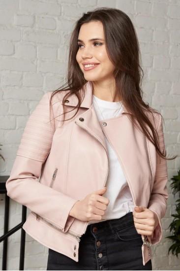 Короткая куртка Damgarder из эко-кожи розовая