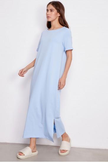 Платье Paula с поясом голубое
