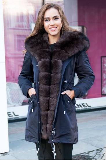 Пуховик Furs collection с мехом песца черный