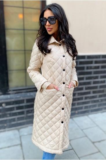 Стеганое пальто с карманами Damgarder молочного цвета