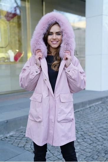 Парка Furs collection с подстёжкой из меха кролика розовая