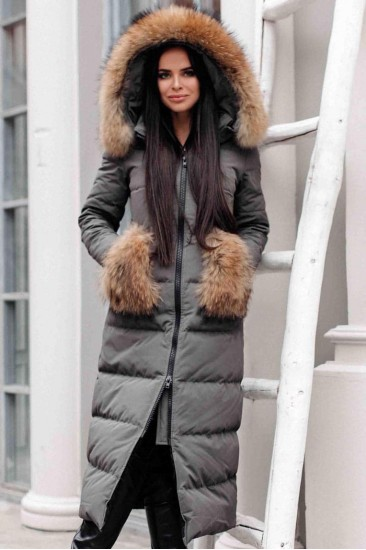 Женский длинный пуховик с меховыми карманами Canada серый