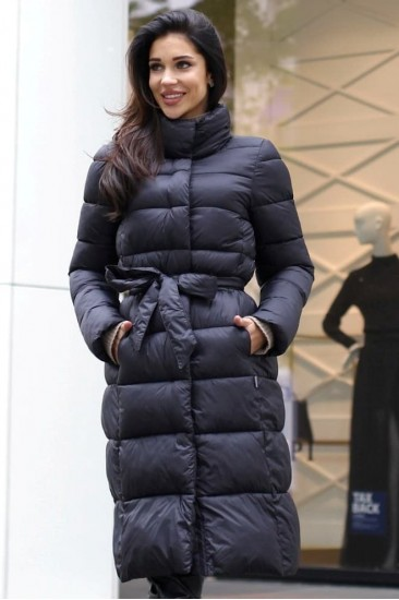 Пальто с поясом цвет черный 06