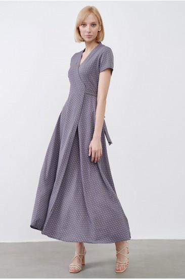 Платье Evi с принтом серое