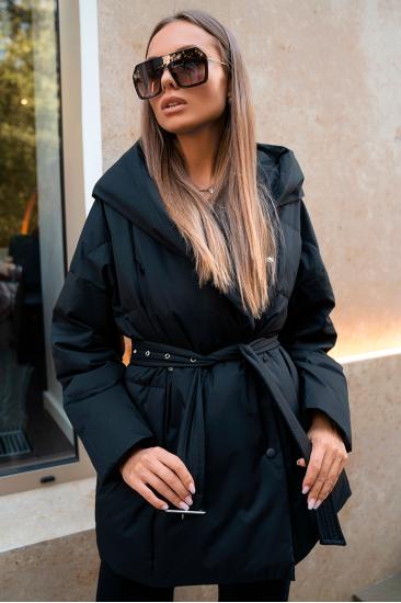 Пуховая куртка с поясом Jo черный