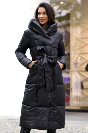 Пальто удлиненное с поясом черное