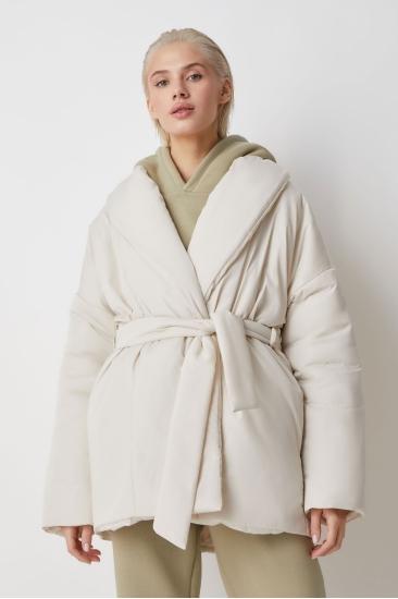 Куртка с поясом Ava, молочный