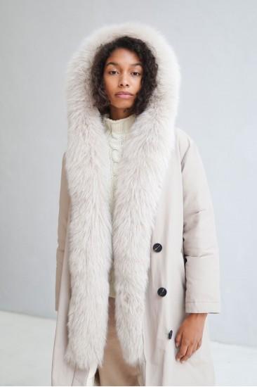 Пальто Sofi с мехом песца, бежевого цвета