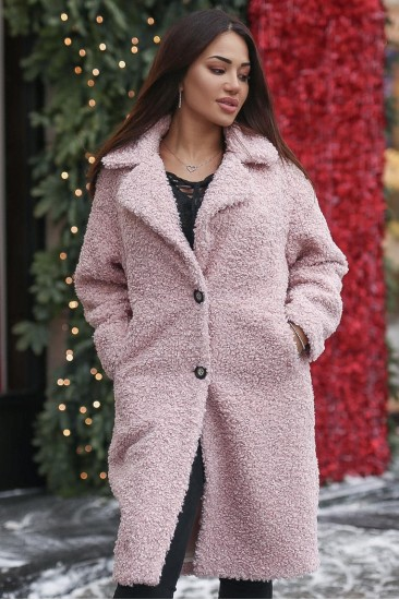 Шуба из эко-меха розовая