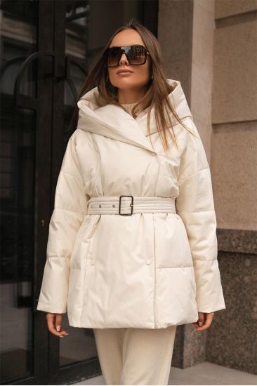 Пуховая куртка с поясом Jo белая