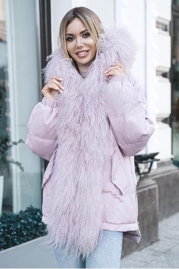 Пуховик короткий с мехом ламы розовый