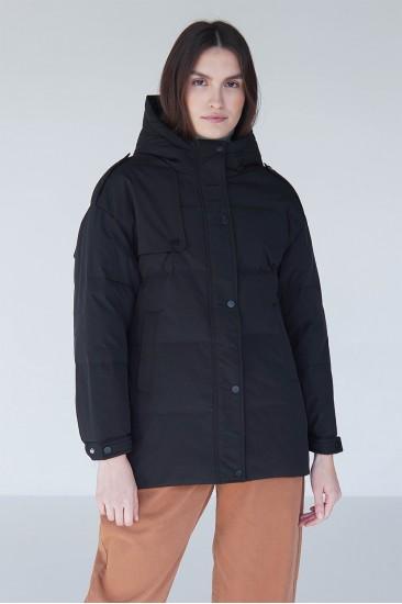 Куртка с поясом на пуху M1 черная
