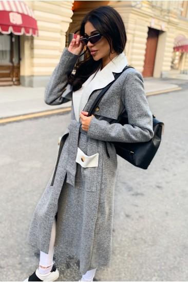 Облегченное пальто Damgarder с поясом серое