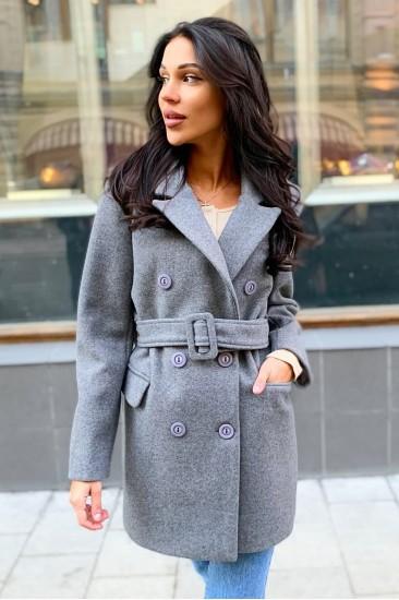 Пальто шерстяное Damgarder с поясом серое