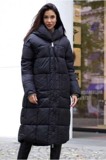 Зимний пуховик одеяло с открытой молнией черный