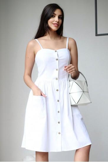 Летнее платье белое с карманами