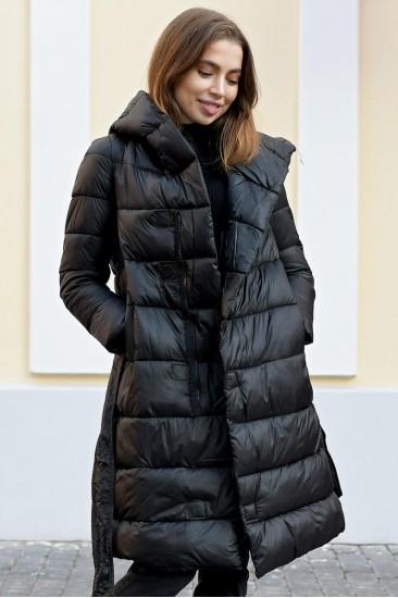 Глянцевое женское пальто на магнитах Laplin черное