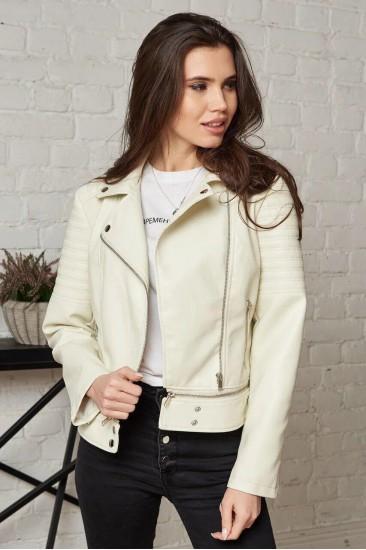 Короткая куртка Damgarder из эко-кожи белая