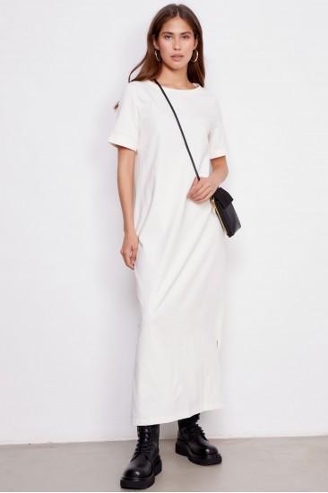 Платье Paula с поясом белое