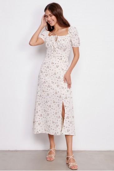 Платье Tina с принтом белое