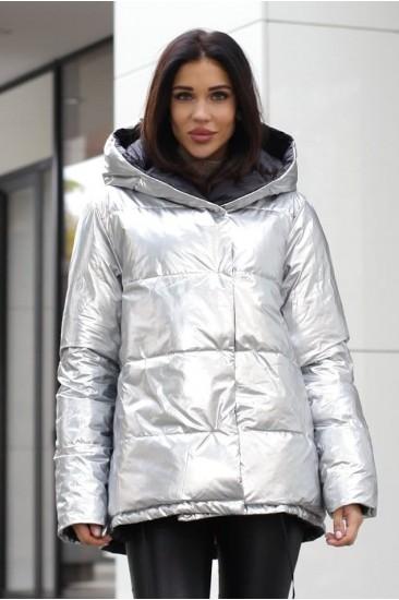 Куртка двухсторонняя зимняя серебро