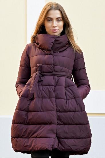 Зимний женский облегченный пуховик с юбкой Laplin бордовый