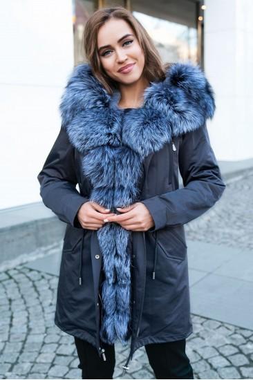 Пуховик Furs collection с мехом чернобурки серый