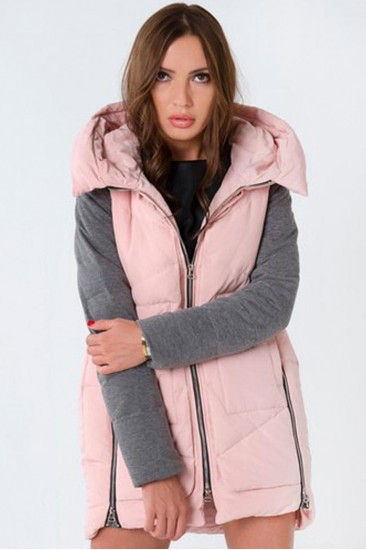 Удлиненная куртка розовая с серыми рукавами