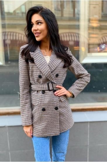 Пальто-пиджак Damgarder в гусиную лапку с поясом