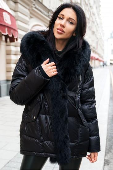 Куртка Damgarder с мехом песца черная