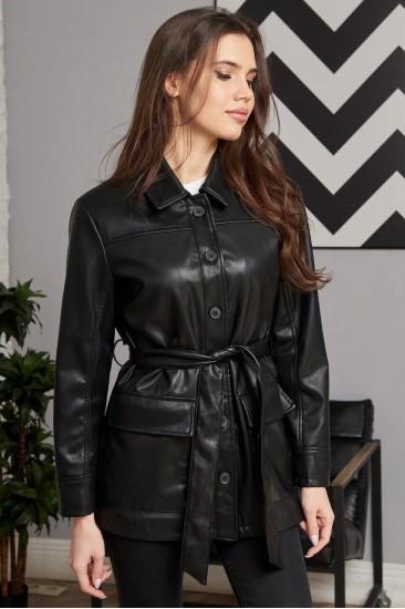 Куртка Damgarder из эко-кожи черная