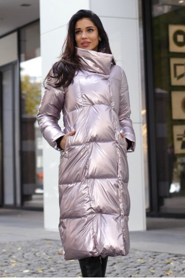 Пуховик зимний серебро розовый