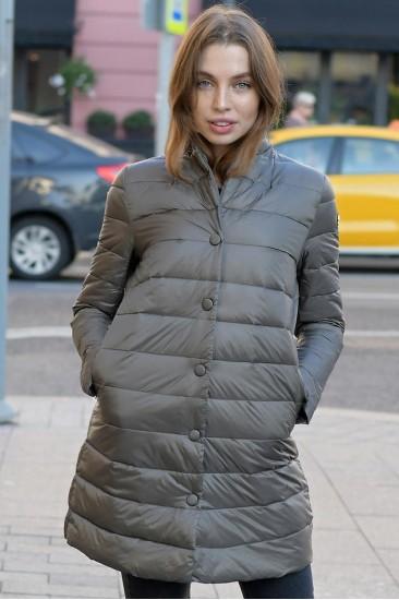 Пуховой удлиненный пиджак Marina Yachting серый