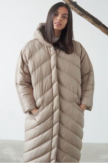 Пальто-одеяло на синтепоне, бежевое