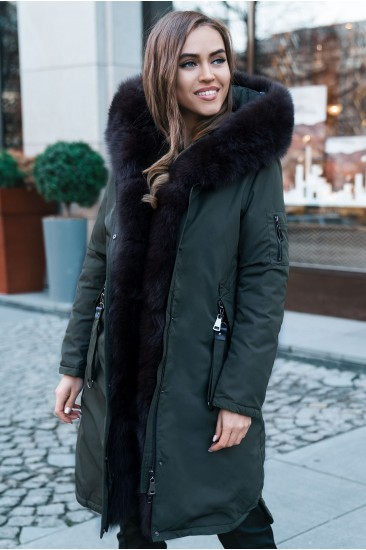 Пуховик Furs collection с мехом песца хаки
