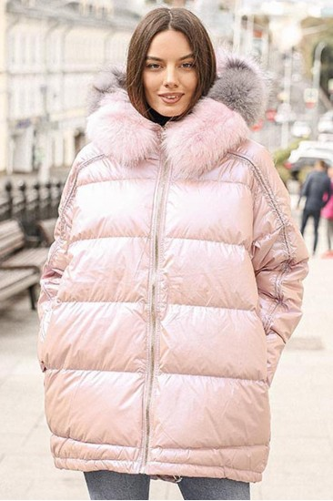 Пуховая зимняя куртка Laplin розовая