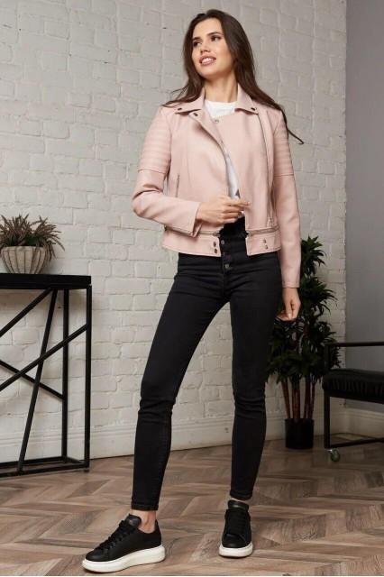 Damgarder Короткая куртка из эко-кожи розовая
