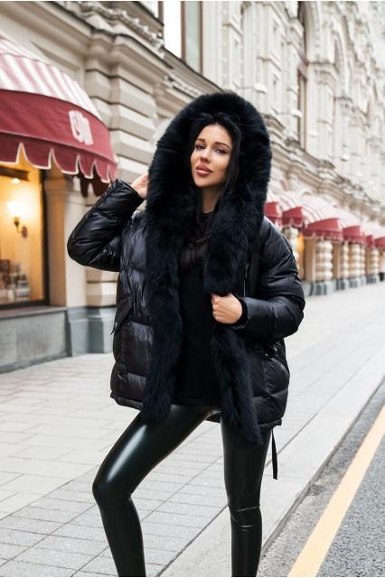 Куртка с мехом песца черная Damgarder