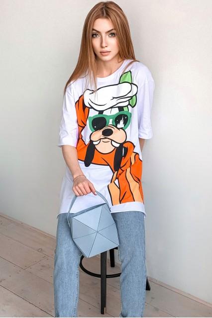 Удлиненная белая с принтом футболка Damgarder