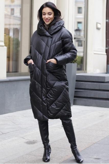 Пуховик одеяло черный 2020 01