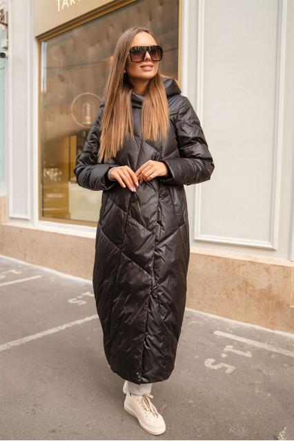 Пуховое удлиненное пальто Stem, черное