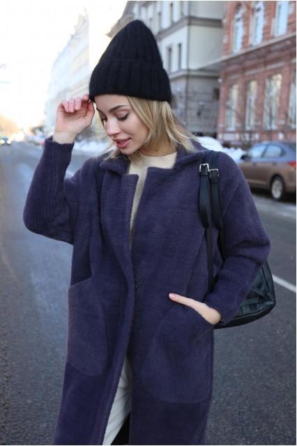 Пальто демисезонное баклажанового цвета